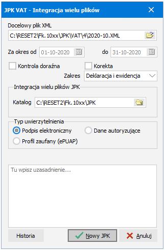 Integracja wielu plików JPK